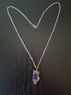 Silver Owl Necklace with Purple Gem, Silver Necklace, Owl Necklace, Long Necklace, Purple Necklace