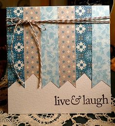 handmade card .. kraft base ... to 2/3 cover with side by side fishtail banners ... lovely coordinating patterens papers in blues and kraft ... great design for using those thin strips that otherwize might get discarded ... luv it!