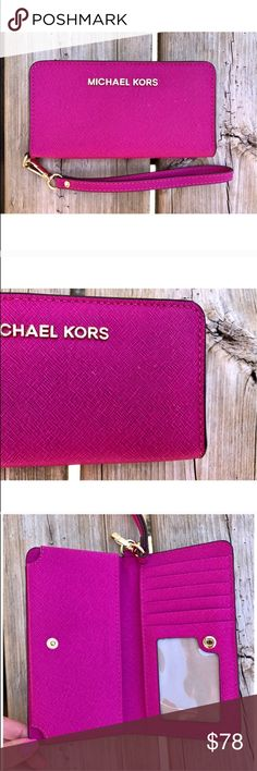 Beautiful MK wristlet 💗 In great condition, there are some tiny white marks (pictured), and I haven't tried to get them out but I'm sure they would come out. I upgraded to the iPhone 7 plus which doesn't fit in this wristlet! NO TRADES OR LOWBALL OFFERS! Michael Kors Bags Clutches & Wristlets