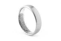 Fingerprint band with satin outer finish and engraving inside