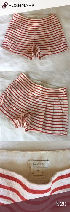 """J. Crew Pleated Linen Striped Short Red & White Cute J. Crew Linen front Pleated shorts with red & white stripes! Love the Pockets too! Perfect for summer with Sandals & a Denim top or tee shirt. Or dress up with heels! Size 2. Approximately 15"""" at waist & 3"""" inseam. Previously loved have small stain on waistband & some Redon the waist please see photos. L15T001041117 J. Crew Shorts"""