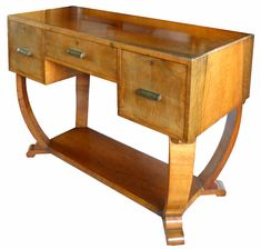 Useful Art Deco Console Table Chest Drawers Blonde Walnut Beautiful In Colour Antiques Periods & Styles