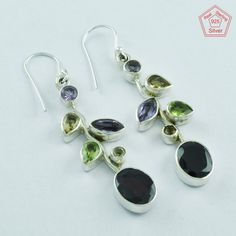 8.7 gm SilvexImages 925 Sterling Silver Multi Stone LEAF FANTASTIC Earring 5094 #SilvexImagesIndiaPvtLtd #DropDangle