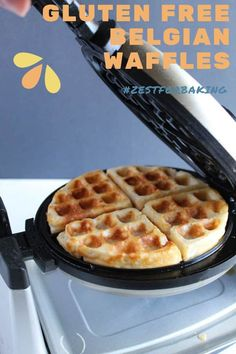 Crisp and golden brown Gluten Free Belgian Waffles… These lighter than air waffles are so good (no one has to know how easy the prep is!). These will be the breakfast waffles everyone will rave about. #glutenfreebread #glutenfreerecipes #glutenfreebreakfast Gf Pancake Recipe, Pancake Recipes, Waffle Recipes, Gluten Free Recipes For Lunch, Gluten Free Breakfasts, Gluten Free Baking, Belgian Waffle Maker, Belgian Waffles, Fluffy Waffles