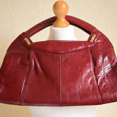 Vintage 1950s leather burgundy deep red purple oversized clutch purse  handbag with gold embellishment detail af9e7d5113b87