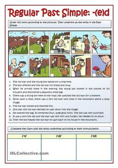 Students order the story according to the pictures. Then they underline all the regular verbs used in the Past Simple tense. Finally, the verbs are sorted out depending on the three different -ed pronunciations. - ESL worksheets