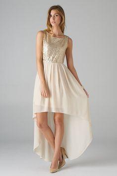 Sequined Top Hi-Lo Dress