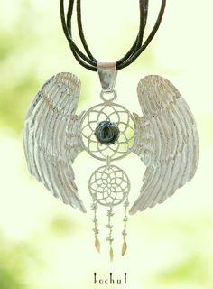Серебряный талисман Ловец Снов с крыльями.  Звездчатый сапфир, серебро, золото. Ручная работа.