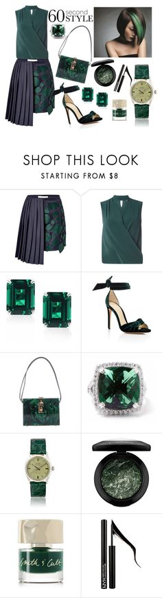 """60-Second Style: Asymmetric Skirts"" by anna-gabedava ❤ liked on Polyvore featuring Mary Katrantzou, Dorothy Perkins, CARAT* London, Alexandre Birman, Dolce&Gabbana, MAC Cosmetics, Smith & Cult, Forever 21, GREEN and darkgreen"