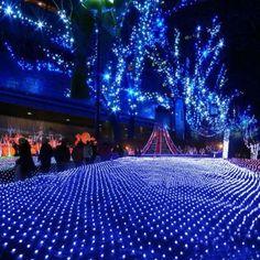 Blue 100 LED Net Mesh Decorative Fairy Lights Twinkle Lighting Christmas Wedding Party EU/220V