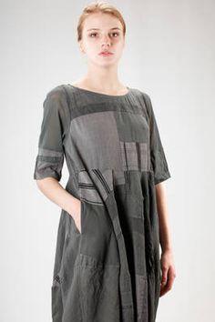 Sark Studio | wide longuette dress in patchwork of vintage fabric of cotton, silk and linen | #sarkstudio