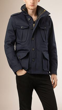 Burberry Dark Navy Cotton Field Jacket with Detachable Warmer - A cotton field jacket with a detachable diamond quilted warmer. The heritage-inspired design is detailed with epaulettes, a zip and press-button placket closure. Discover the men's outerwear collection at Burberry.com