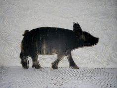 Pig Silhouette Sign Wall Decor Rustic by hensnesttreasures on Etsy