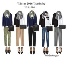 """Winter 2016 Wardrobe - White Shirt"" by bluehydrangea ❤ liked on Polyvore featuring Banana Republic, Madewell, J.Crew, 7 For All Mankind, Boden, Dr. Scholl's, Marc by Marc Jacobs and MANGO"