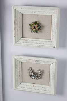 CUTE burlap mat framed brooches! Would love to make!