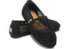 Toms Black Lace Mesh Hollow Dames Schoenen