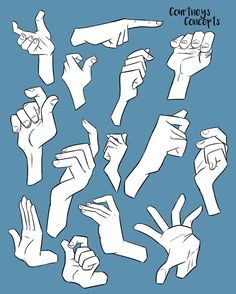 Reference - Hand positions by CourtneysConcepts on DeviantArt Her are some hand references I made. Using Manga Studio again, although the original sketches were traditional. Hand Drawing Reference, Art Reference Poses, Design Reference, Art Poses, Drawing Poses, Drawing Tips, Drawing Hair, Gesture Drawing, Drawing Drawing