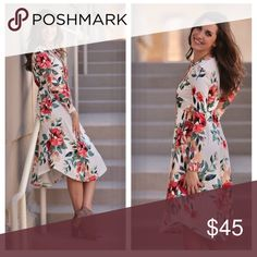 """Ivory Floral Print Dress 👗😍 Perfect for Easter!! Ivory Floral Print Dress 👗😍 🌸Perfect for Easter/spring!! 95% Polyester, 5% Spandex. BUST: S-16"""", M-17"""", L-18"""". LENGTH: S-38""""/43"""", M-39""""/44"""", L-40""""/45"""". Hand wash cold, do not bleach. Hang/line dry. Dry cleaning recommended. Made in USA. Infinity Raine Dresses Midi"""