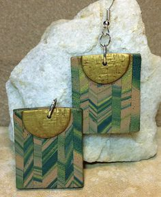 Earrings, Gold and Green Earrings, Earth-toned Earrings, Polymer Clay Earrings, Rectangular Earrings, Dangle Earrings, Handcrafted Earrings