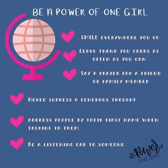 """The Power of One Girl on Instagram: """"You have the POWER to make a difference and change the world 🌎!!! If you want to be a girl that is using her power for good, here's just a few ways how to do just that!"""