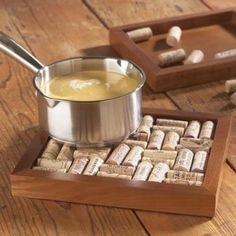 Wine cork hot plate out of a picture frame