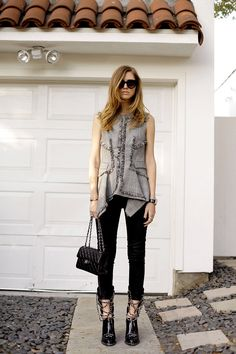 d763e4f73b8 Chiara Ferragni The Blonde Salad Chanel Boots J Brand Black Jeans McQ  Alexander McQueen Top Chanel Double Flap Thierry Lasry Sunglasses