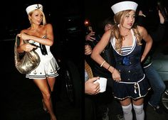 15 Celebrities Wearing the Same Halloween Costume: Paris Hilton vs. Lauren Conrad as a Sailor.