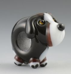 Bernese Mountain Dog Lampwork Glass Big Hole Bead by LaurieCleary, $30.00