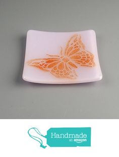 Textured Butterfly Fused Glass Trinket Dish / Spoon Rest in Orange on Petal Pink from Foster's Beauties https://www.amazon.com/dp/B01MT5WS12/ref=hnd_sw_r_pi_dp_PlgFybHT2YN2G #handmadeatamazon
