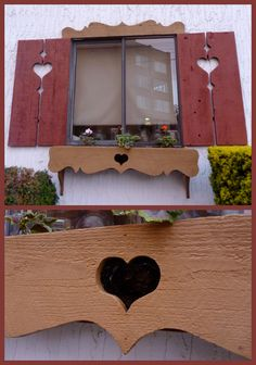 Heart-shaped shutter & window-box cut-outs at the Victoria Edelweiss Club, Victoria, BC