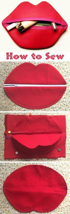 Red Lips Makeup/Cosmetic Bag. Photo Sewing Tutorial. Step by step. http://www.handmadiya.com/2016/01/makeup-bag-red-lips-tutorial.html