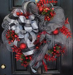 Christmas Wreath - Silver, Red, & Black Deco Mesh w/Rhinestone Jeweled Reindeer #HandCrafted