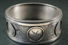 QUALITY ANTIQUE ENGLISH VICTORIAN STERLING SILVER AESTHETIC BANGLE c1880 #Bangle