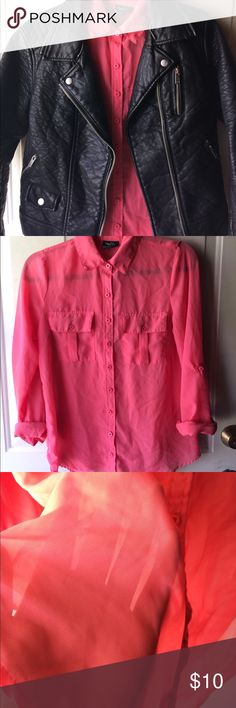 Pink sheer button up shirt B1 Sheer - bright pink - size small. No holes, stains, or rips. Perfect to layer with a leather jacket or by itself.  Size small. The sleeves you could make 3/4 or leave the long.   Everything is washed with care before mailed, because most have been in storage for awhile.  Certain items can be modeled upon request.  Measurements upon request.  I always try shipping next day or within two days. *Reasonable offers excepted &I give great bundle discounts! Rue21 Tops…