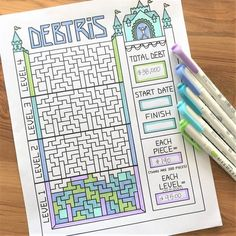 Debtris - Coming Soon! Debt is Going Down – Debt Free Charts Bullet Journal Ultimate Collection Hand Drawn Style Bullet Journal Ideas Pages, Bullet Journal Inspiration, Dave Ramsey, Bellet Journal, Debt Tracker, Bullet Journal Savings Tracker, Saving Tracker, Savings Plan, Savings Challenge