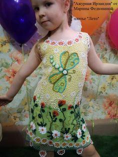 Платье на девочку 4-5 лет, ниточка шелк, вискоза и итальянский хлопок, с добавкой чешского бисера, крючек 0,5