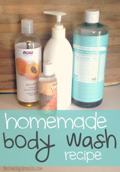 Easy, frugal, and toxin-free homemade body wash recipe. Made with liquid castile soap!