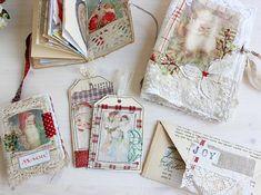 fabric Christmas journal | Christmas memories | fabric book | antique fabrics |ephemera | unique gifts | handmade gifts | memory book | journaling | Roxy creations