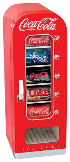 Coca-Cola - 0.6 Cu. Ft. Retro Vending Refrigerator - Red - Larger Front