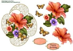"""Beautiful Peach Flower Topper on Craftsuprint designed by Amy Perry - Beautiful Peach Flower Topper in lovely gold frame with butterflies, also has decoupage and choice of tag """"Happy Birthday"""" and a blank tag for your own choice - Now available for download!"""