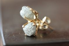 Rough Diamond Stud Earrings in 14kt Gold large white by LexLuxe