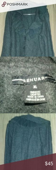 "NWOT Coat Gray Renuar short coat, 25"" long, and 18"" in width, when laid flat, pretty ruffle around the collar.  New without tag, never worn, and in excellent condition.  Hot flashes kept me from wearing it. Renuar Jackets & Coats Blazers"