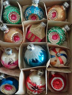 Vintage GLASS Christmas Tree Baubles DECORATIONS Concave