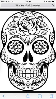 Tattoo, black and white, sugar skull