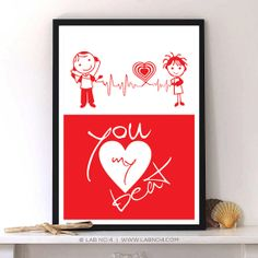You my heartbeat  Love Quote typography art poster by LabNo4, $9.00