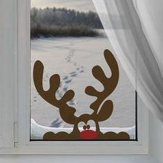 Peeping Reindeer Window Sticker