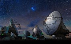 Bing Image Archive: Atacama Large Millimeter Array (ALMA) in the Atacama Desert, Chile (© Dave Yoder/Corbis)(Bing United States) Space Documentaries, Chile, Starry Night Wallpaper, Telescope Images, Space Telescope, Astronomical Telescope, Sundance Film Festival, Image Archive, Deep Space