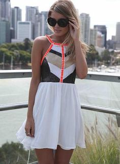 White Embellished High Neckline Dress,  Dress, embellished dress  sleeveless  high neckline, Chic