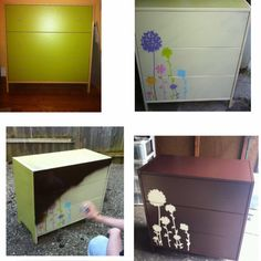 Dresser transformation! Dollar store wall decals and two cans of spray paint :)