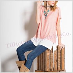Coral And White Stripe Tunic Top SOFT AND COZY STRIPE  KNIT.  SHORT SLEEVE WITH V NECK TUNIC , WITH CONTRAST WHITE TRIM HEM. 83% RAYON, 13% POLYESTER, 4% SPANDEX, MADE IN USA, CORAL/WHITE sizes S,M,L TAG ME WITH SIZE I WILL MAKE YOU A NEW LISTING. Tops Tunics